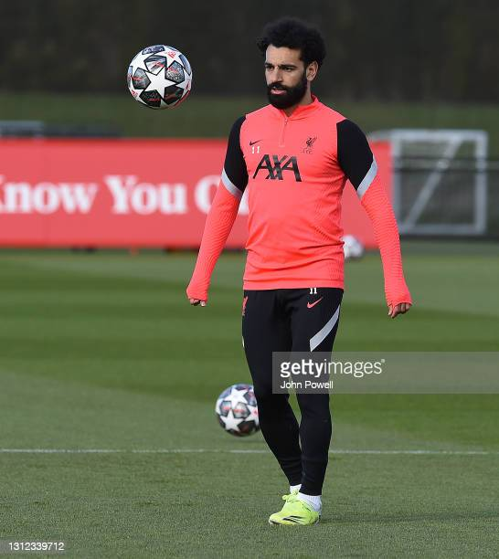 Mohamed Salah of Liverpool during a training session at AXA Training Centre on April 13, 2021 in Kirkby, England.
