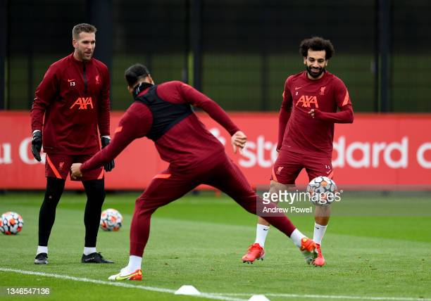 Mohamed Salah of Liverpool during a training session at AXA Training Centre on October 14, 2021 in Kirkby, England.