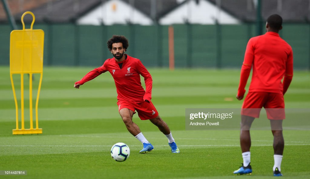Mohamed Salah of Liverpool during a training session at Melwood Training Ground on August 10, 2018 in Liverpool, England.