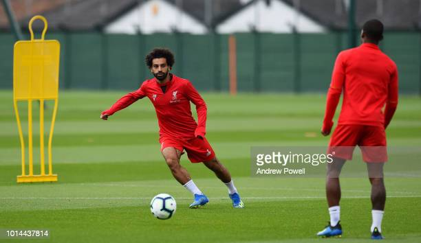 Mohamed Salah of Liverpool during a training session at Melwood Training Ground on August 10 2018 in Liverpool England