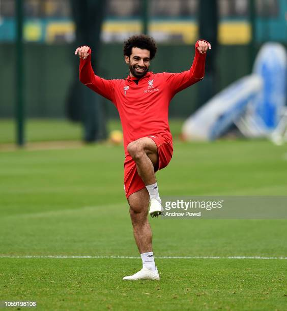 Mohamed Salah of Liverpool during a training session at Melwood Training Ground on November 8 2018 in Liverpool England