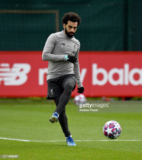 Mohamed Salah of Liverpool during a training session at Melwood training ground on March 10 2020 in Liverpool United Kingdom Liverpool FC will face...