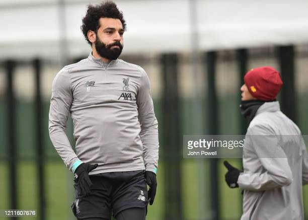 Mohamed Salah of Liverpool during a training session at Melwood on March 10 2020 in Liverpool United Kingdom Liverpool FC will face Atletico Madrid...