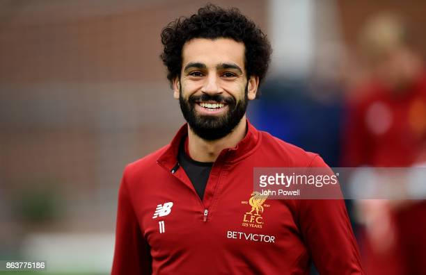 Mohamed Salah of Liverpool during a training session at Melwood Training Ground on October 20 2017 in Liverpool England