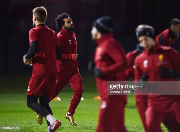 Mohamed Salah of Liverpool during a training session at Melwood Training Ground on December 15 2017 in Liverpool England