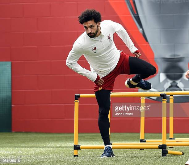 MARCH 13 Mohamed Salah of Liverpool during a training session at Melwood Training Ground on March 13 2018 in Liverpool England