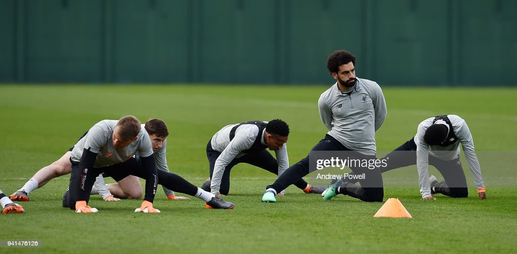 Mohamed Salah of Liverpool during a training session at Melwood Training Ground on April 3, 2018 in Liverpool, England.