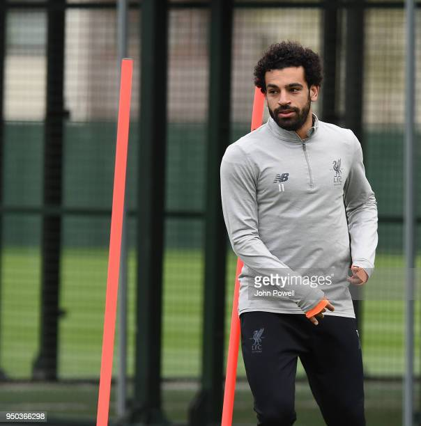 Mohamed Salah of Liverpool during a training session at Melwood Training Ground on April 23 2018 in Liverpool England
