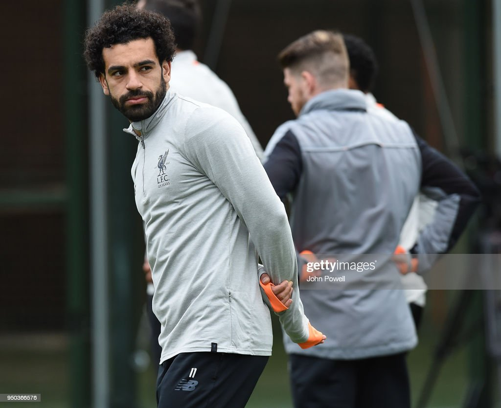 Mohamed Salah of Liverpool during a training session at Melwood Training Ground on April 23, 2018 in Liverpool, England.