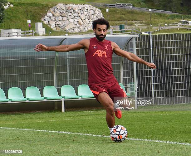 Mohamed Salah of Liverpool during a training session on July 25, 2021 in UNSPECIFIED, Austria.