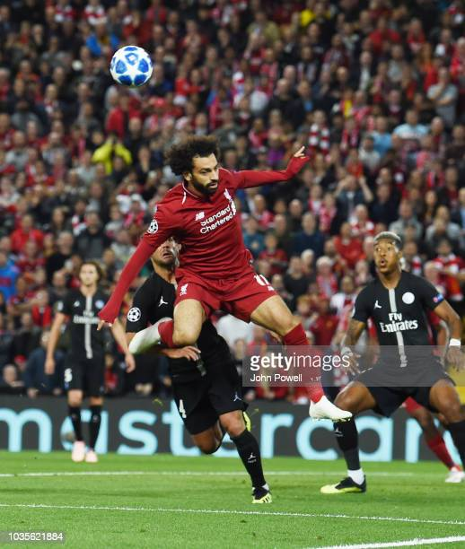 Mohamed Salah of Liverpool during the Group C match of the UEFA Champions League between Liverpool and Paris SaintGermain at Anfield on September 18...
