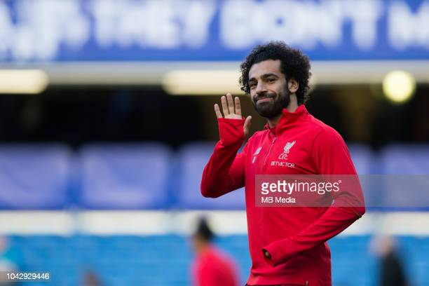Mohamed Salah of Liverpool during the prematch warmup during the Premier League match between Chelsea FC and Liverpool FC at Stamford Bridge on...