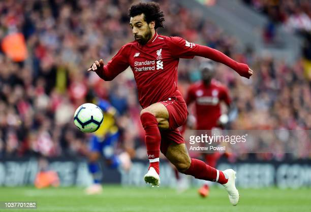Mohamed Salah of Liverpool during the Premier League match between Liverpool FC and Southampton FC at Anfield on September 22 2018 in Liverpool...