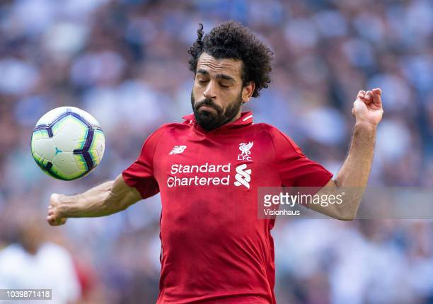 Mohamed Salah of Liverpool during the Premier League match between Tottenham Hotspur and Liverpool FC at Wembley Stadium on September 15 2018 in...