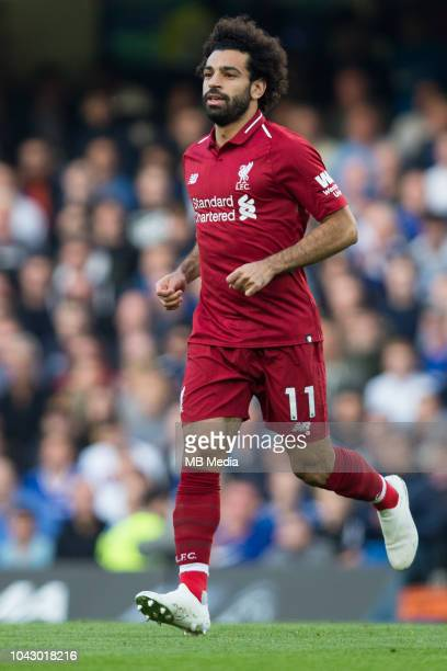 Mohamed Salah of Liverpool during the Premier League match between Chelsea FC and Liverpool FC at Stamford Bridge on September 29 2018 in London...