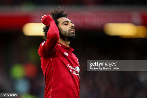 Mohamed Salah of Liverpool during the Premier League match between Liverpool FC and Manchester City at Anfield on October 7 2018 in Liverpool United...