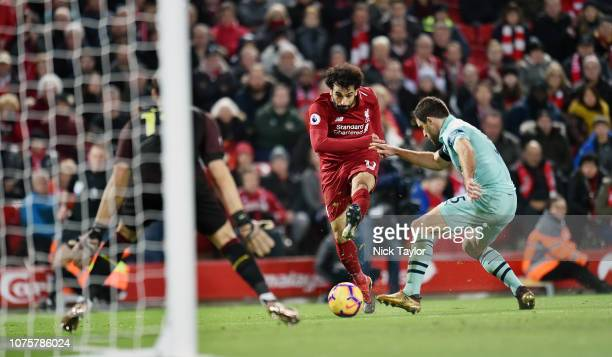 Mohamed Salah of Liverpool during the Premier League match between Liverpool FC and Arsenal FC at Anfield on December 29 2018 in Liverpool United...