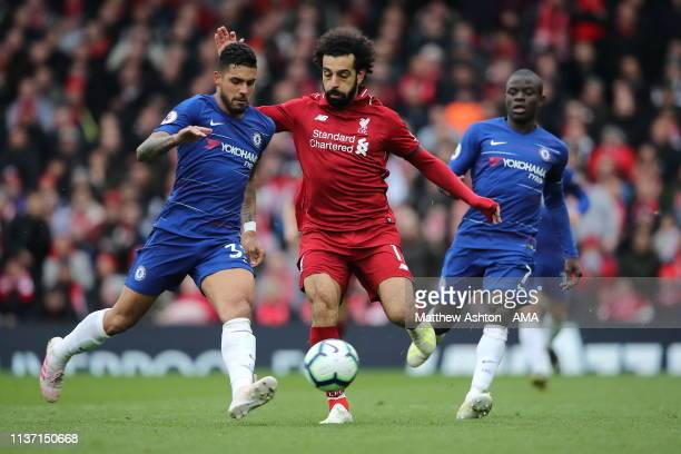 Mohamed Salah of Liverpool during the Premier League match between Liverpool FC and Chelsea FC at Anfield on April 14, 2019 in Liverpool, United...