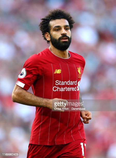Mohamed Salah of Liverpool during the Premier League match between Liverpool FC and Arsenal FC at Anfield on August 24 2019 in Liverpool United...