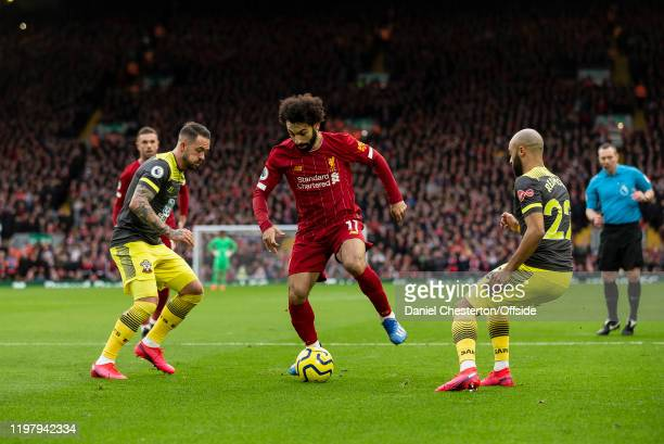 Mohamed Salah of Liverpool during the Premier League match between Liverpool FC and Southampton FC at Anfield on February 1, 2020 in Liverpool,...