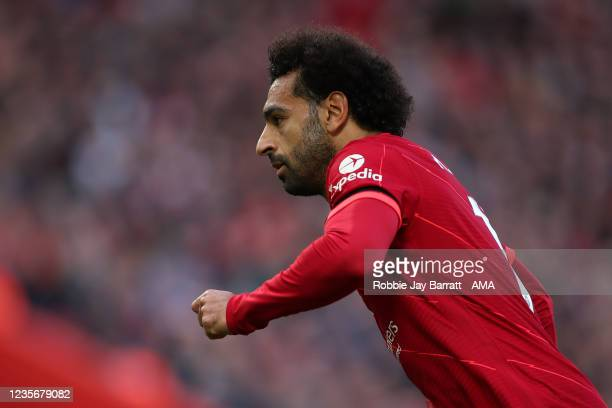 Mohamed Salah of Liverpool during the Premier League match between Liverpool and Manchester City at Anfield on October 3, 2021 in Liverpool, England.