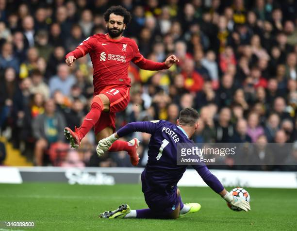 Mohamed Salah of Liverpool during the Premier League match between Watford and Liverpool at Vicarage Road on October 16, 2021 in Watford, England.