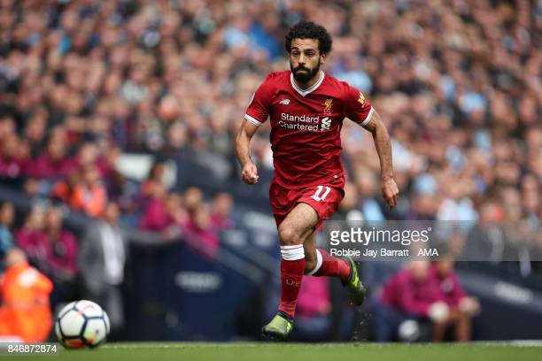 Mohamed Salah of Liverpool during the Premier League match between Manchester City and Liverpool at Etihad Stadium on September 9 2017 in Manchester...