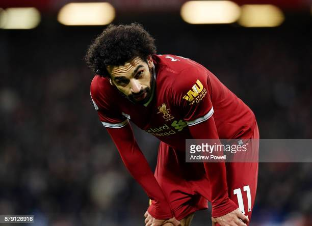 Mohamed Salah of Liverpool during the Premier League match between Liverpool and Chelsea at Anfield on November 25 2017 in Liverpool England