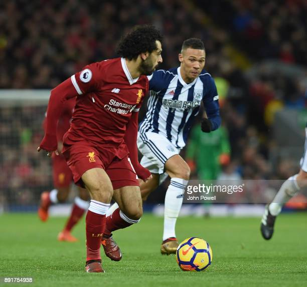 Mohamed Salah of Liverpool during the Premier League match between Liverpool and West Bromwich Albion at Anfield on December 13 2017 in Liverpool...