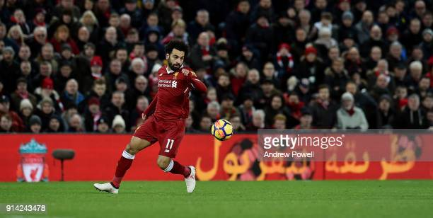 Mohamed Salah of Liverpool during the Premier League match between Liverpool and Tottenham Hotspur at Anfield on February 4 2018 in Liverpool England