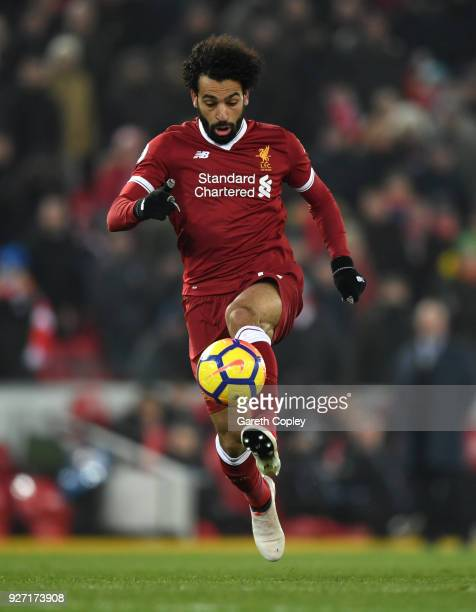Mohamed Salah of Liverpool during the Premier League match between Liverpool and Newcastle United at Anfield on March 3 2018 in Liverpool England