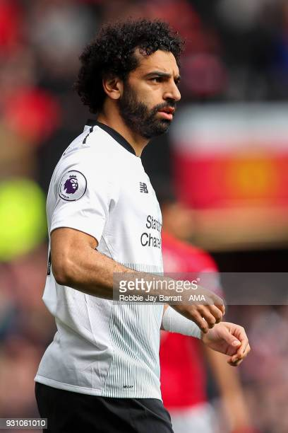 Mohamed Salah of Liverpool during the Premier League match between Manchester United and Liverpool at Old Trafford on March 10 2018 in Manchester...