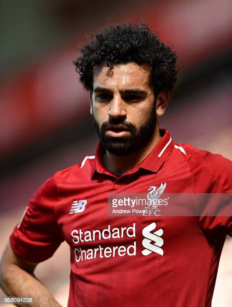 Mohamed Salah of Liverpool during the Premier League match between Liverpool and Brighton and Hove Albion at Anfield on May 13 2018 in Liverpool...