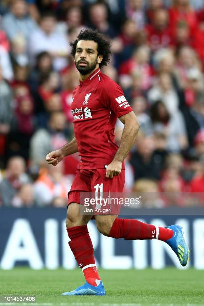 Mohamed Salah of Liverpool during the preseason friendly match between Liverpool and Torino at Anfield on August 7 2018 in Liverpool England
