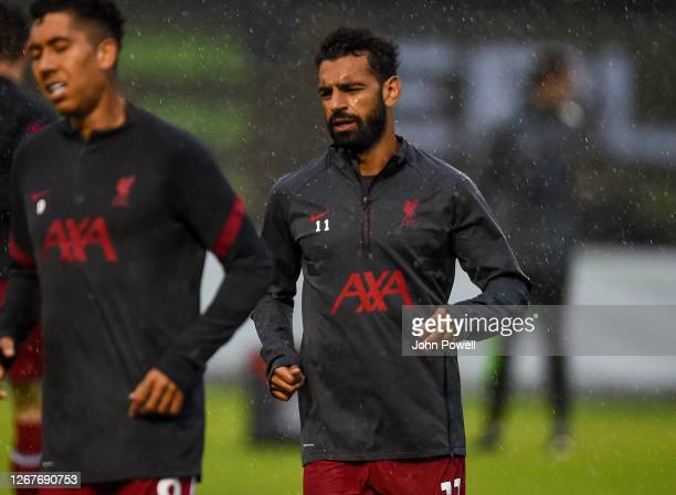 Mohamed Salah of Liverpool during the pre-season friendly match between Liverpool and VfB Stuttgart at Saalfelden Arena on August 22, 2020 in...