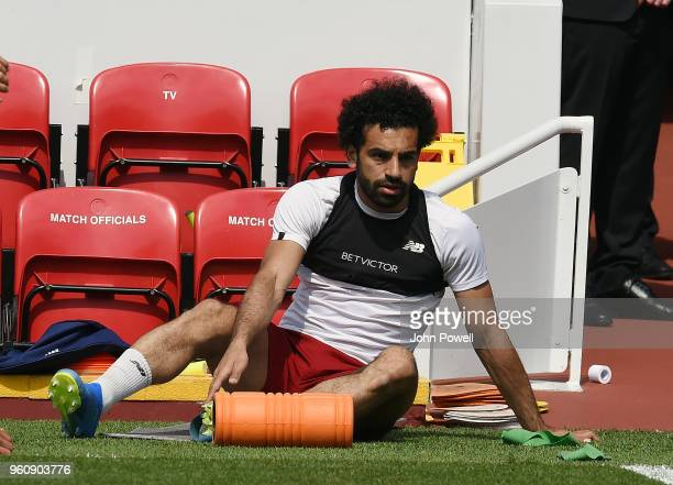 Mohamed Salah of Liverpool during the Training session at Anfield on May 21 2018 in Liverpool England