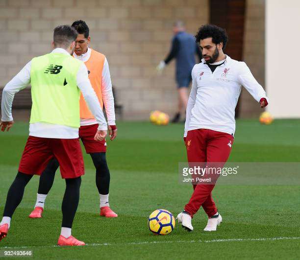 Mohamed Salah of Liverpool during the training session at Melwood Training Ground on March 15 2018 in Liverpool England