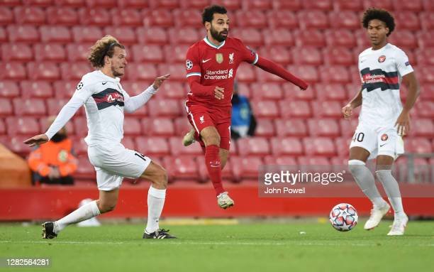 Mohamed Salah of Liverpool during the UEFA Champions League Group D stage match between Liverpool FC and FC Midtjylland at Anfield on October 27,...