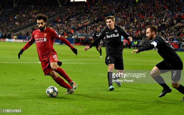 Mohamed Salah of Liverpool during the UEFA Champions League group E match between RB Salzburg and Liverpool FC at Red Bull Arena on December 10 2019...