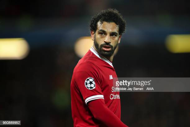 Mohamed Salah of Liverpool during the UEFA Champions League Semi Final First Leg match between Liverpool and AS Roma at Anfield on April 24 2018 in...