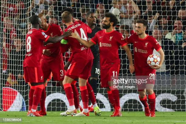 Mohamed Salah of Liverpool FC celebrates after scoring his team's second goal during the UEFA Champions League group B match between Liverpool FC and...