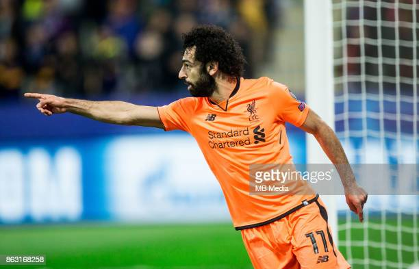 Mohamed Salah of Liverpool FC celebrates after scoring third goal during UEFA Champions League 2017/18 group E match between NK Maribor and Liverpool...