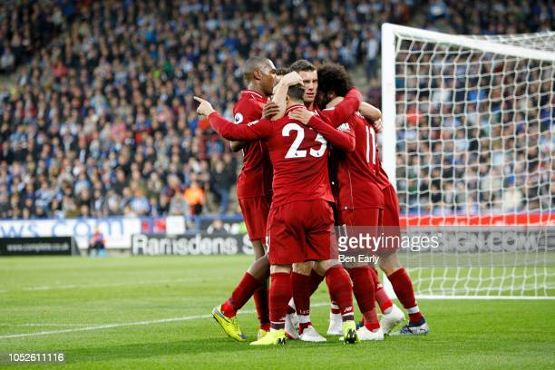 Mohamed Salah of Liverpool FC celebrates with team mates during the Premier League match between Huddersfield Town and Liverpool FC at John Smith's...