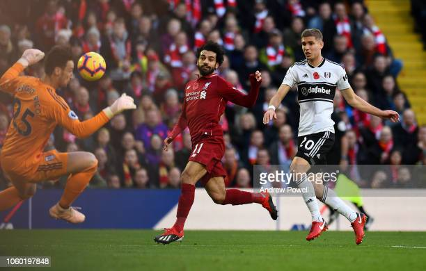 Mohamed Salah of Liverpool FC comes close to scoring during the Premier League match between Liverpool FC and Fulham FC at Anfield on November 11...