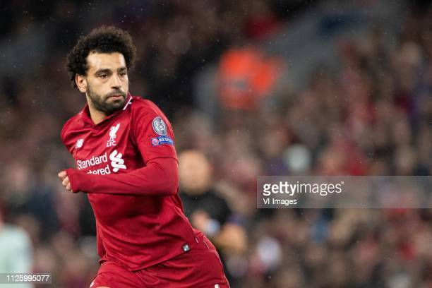 Mohamed Salah of Liverpool FC during the UEFA Champions League round of 16 match between Liverpool FC and Bayern Munich at Anfield on February 19...