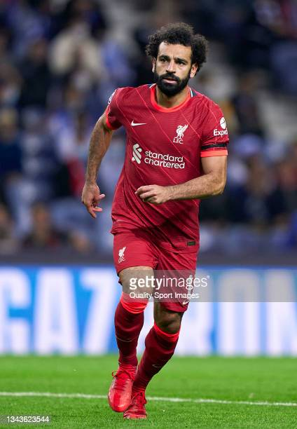 Mohamed Salah of Liverpool FC looks on during the UEFA Champions League group B match between FC Porto and Liverpool FC at Estadio do Dragao on...