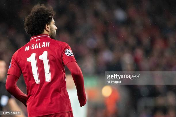 Mohamed Salah of Liverpool FC number 11 during the UEFA Champions League round of 16 match between Liverpool FC and Bayern Munich at Anfield on...