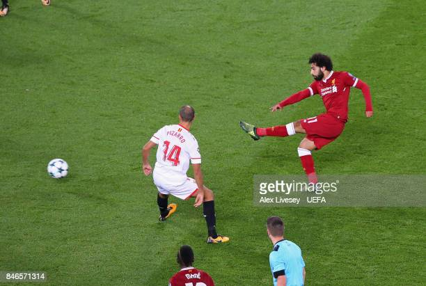 Mohamed Salah of Liverpool FC scores their second goal during the UEFA Champions League group E match between Liverpool FC and Sevilla FC at Anfield...