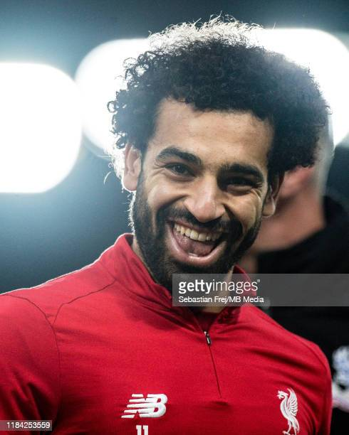 Mohamed Salah of Liverpool FC smile during the Premier League match between Crystal Palace and Liverpool FC at Selhurst Park on November 23 2019 in...