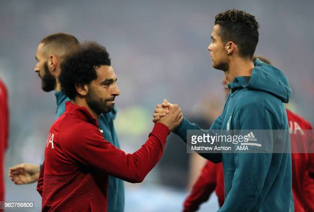Mohamed Salah of Liverpool greets Cristiano Ronaldo of Real Madrid before the UEFA Champions League final between Real Madrid and Liverpool on May 26...